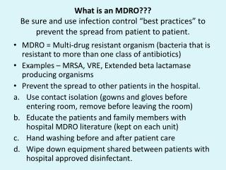 What is an MDRO