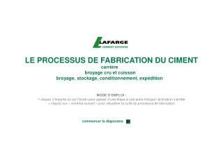 LE PROCESSUS DE FABRICATION DU CIMENT