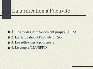La tarification   l activit