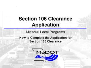 Section 106 Clearance Application Missouri Local Programs