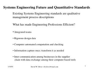 Systems Engineering Future and Quantitative Standards