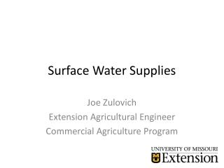 Surface Water Supplies