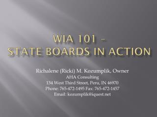 WIA 101 –  State Boards in Action