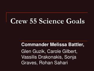 Crew 55 Science Goals