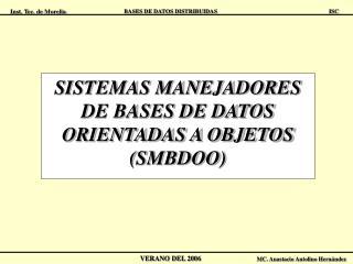 SISTEMAS MANEJADORES DE BASES DE DATOS ORIENTADAS A OBJETOS (SMBDOO)