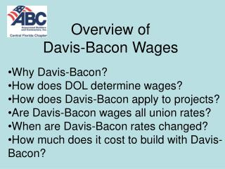 Overview of  Davis-Bacon Wages