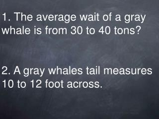 1. The average wait of a gray whale is from 30 to 40 tons    2. A gray whales tail measures 10 to 12 foot across.