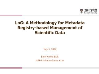LoG: A Methodology for Metadata Registry-based Management of Scientific Data