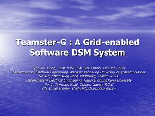 Teamster-G : A Grid-enabled Software DSM System