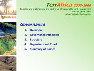 Governance Overview Governance Principles Structure Organisational Chart Summary of Bodies