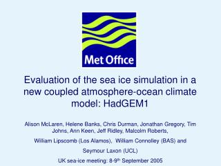 Evaluation of the sea ice simulation in a new coupled atmosphere-ocean climate model: HadGEM1