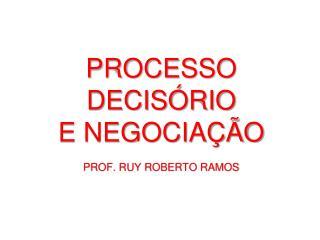 PROCESSO DECISÓRIO  E NEGOCIAÇÃO PROF. RUY ROBERTO RAMOS