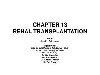 CHAPTER 13 RENAL TRANSPLANTATION