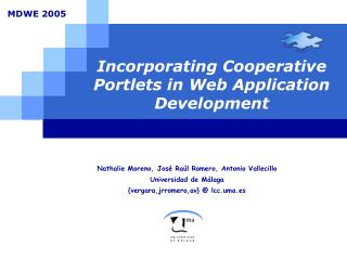 Incorporating Cooperative Portlets in Web Application Development