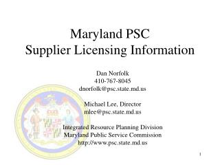 Maryland PSC Supplier Licensing Information