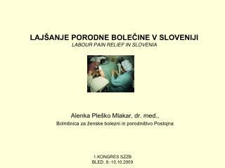 LAJŠANJE PORODNE BOLEČINE V SLOVENIJI LABOUR PAIN RELIEF IN SLOVENIA