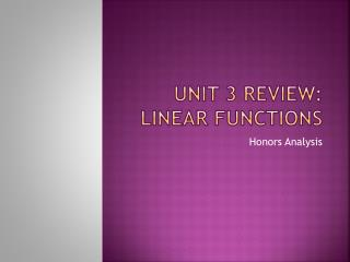 Unit 3 Review: Linear Functions