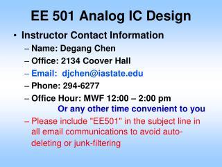 EE 501 Analog IC Design