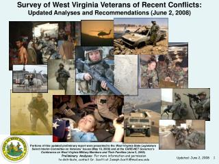 Portions of this updated preliminary report were presented to the  West Virginia State Legislature