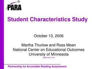 Student Characteristics Study