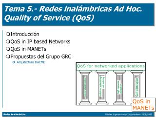 Tema 5.- Redes inal�mbricas Ad Hoc. Quality of Service (QoS)