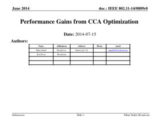 Performance Gains from CCA Optimization