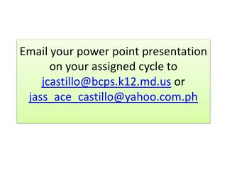 Email your power point presentation on your assigned