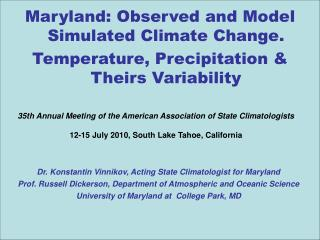 Maryland: Observed and Model Simulated Climate Change.
