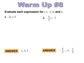 Evaluate each expression for x = –1, 0, and 2 .