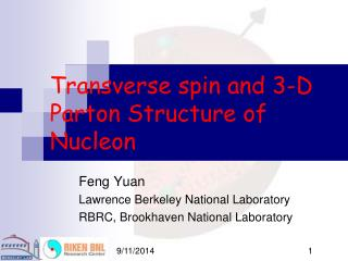 Transverse spin and 3-D Parton Structure of Nucleon