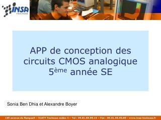 APP de conception des circuits CMOS analogique 5 ème  année SE