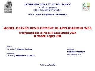 UNIVERSITÀ DEGLI STUDI DEL SANNIO Facoltà di Ingegneria CdiL in Ingegneria Informatica