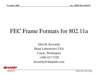 FEC Frame Formats for 802.11a