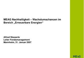 """MEAG Nachhaltigkeit – Wachstumschancen im Bereich """"Erneuerbare Energien"""""""