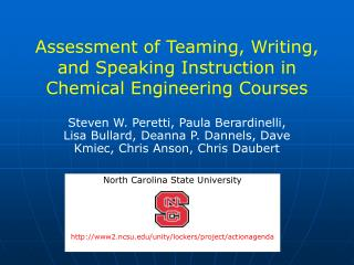 Assessment of Teaming, Writing, and Speaking Instruction in Chemical Engineering Courses