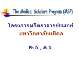 The Medical Scholars Program (MSP)