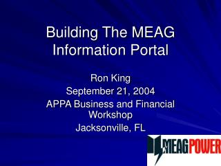 Building The MEAG Information Portal