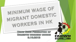 The Minimum Allowable Wage[MAW] and Food allowance in HK
