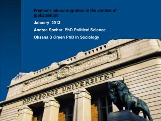 Women's labour migration in the context of globalisation January  2013