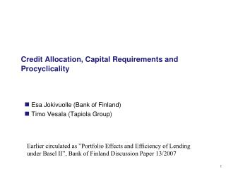 Credit Allocation, Capital Requirements and Procyclicality