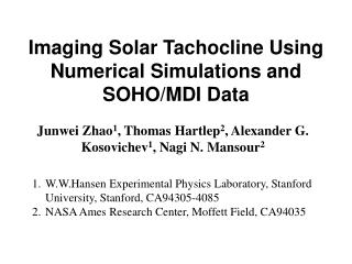 Imaging Solar Tachocline Using Numerical Simulations and SOHO/MDI Data
