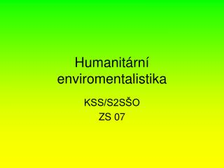 Humanitární enviromentalistika