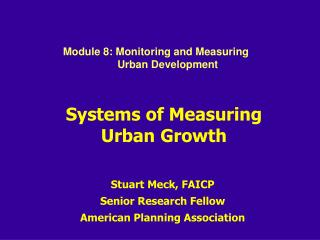 Systems of Measuring Urban Growth