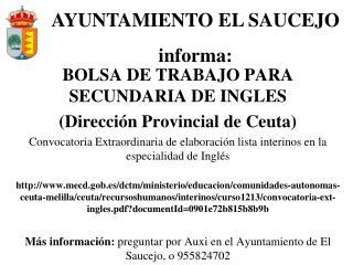 BOLSA DE TRABAJO PARA SECUNDARIA DE INGLES  (Dirección Provincial de Ceuta)