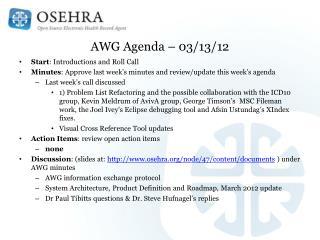 AWG Agenda – 03/13/12