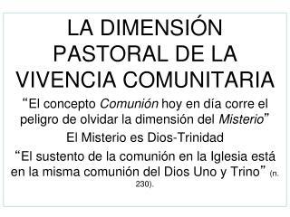 LA DIMENSIÓN PASTORAL DE LA VIVENCIA COMUNITARIA