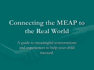 Connecting the MEAP to the Real World