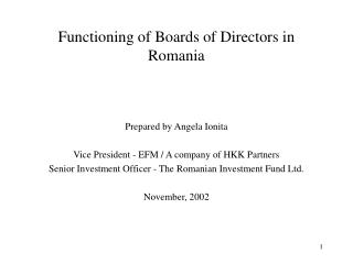 Functioning of Boards of Directors in Romania