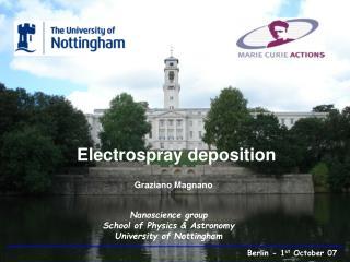 Electrospray deposition