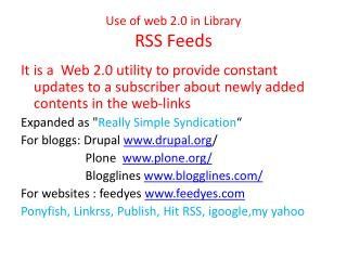 Use of web 2.0 in Library RSS Feeds
